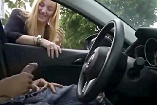 Cutie jerks   milks his cock through the car window
