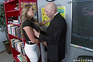 Alanah Rae sucks Johnny Sins in hot school fantasy