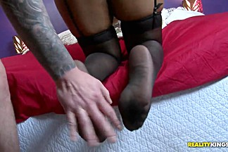 Ebony slutty woman gears the cum stick