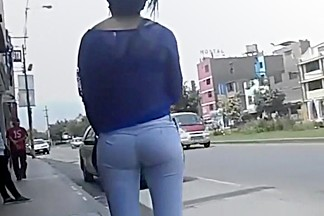 Hot girl with a great ass waits for a taxi