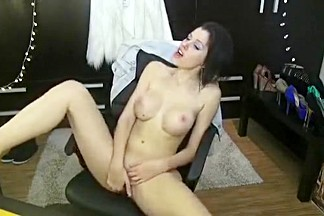 Delightful brunette 01Amiana masturbates on the couch