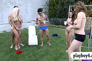 New singles playing crazy games outside the Foursome mansion