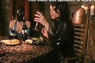 Sharp Mistress disciplining handmaidens at dinner time