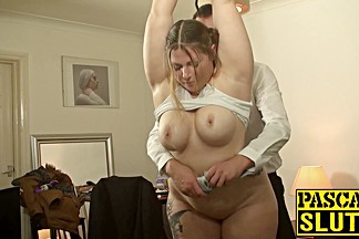 Sexy horny slut in heat gets her throat fucked to tears