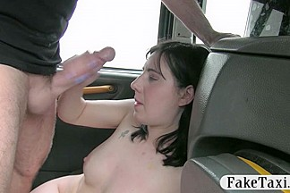 Amateur babe screwed up and facialized by fake driver