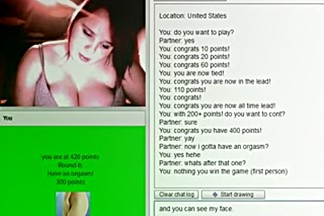 Chubby american girl plays a sex game online