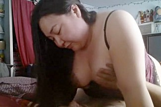 Chubby asian american girl goes for a ride on a bbc