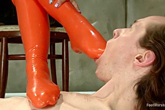 Incredible latex, fetish xxx clip with best pornstars Lyla Storm and Owen Gray from Footworship