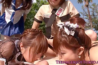 Japanese teens gangbang lucky guy outdoors