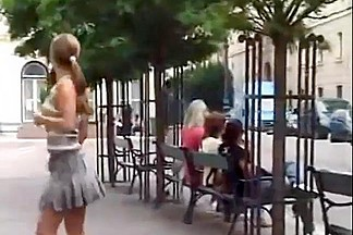 Girl flashing and pissing in public Pt 1