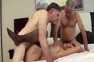 Two Oldmen vs latin girl