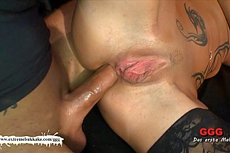 Tatttoed MILF gets her daily sperm dose before anal - Extreme Bukkake