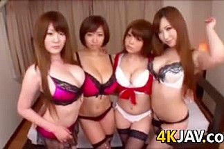 Lucky Guy With Four Busty Japanese Sluts