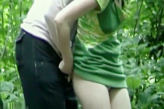 Horny amateur couple fucking in the woods