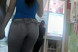 Ebony girl in tight jeans pants