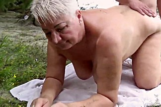 Bare bold nudist granny and junior cock admirer