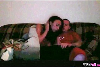 Teen Rides Her BF Wild On The Sofa