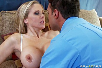 Horny mom Julia Ann feeds Rocco Reed with her bertie