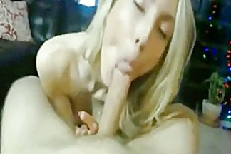 Hot blonde girl never swallow
