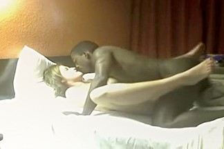 White girl fucks her black lover in various positions in a hotel