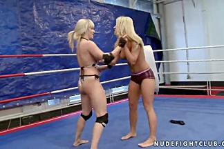 Lee Lexxus and Nikky Thorne wrestling in panties