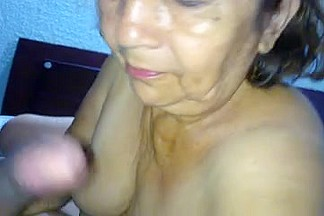 Ugly granny gives a sloppy and kinky blowjob