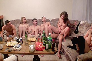 Dana & Janet & Kristene & Sonja in video of a college orgy with lots of hot chicks