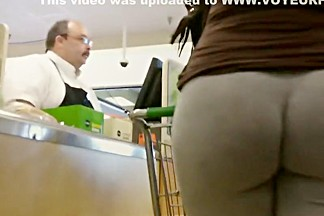 In cashier line behind a big black booty