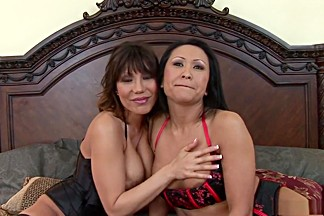 Exotic pornstars Ava Devine and Kitty Langdon in hottest brunette, fishnet sex clip